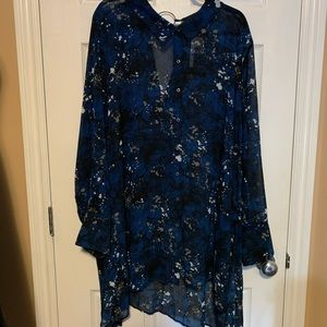 mblm sheer button up blouse